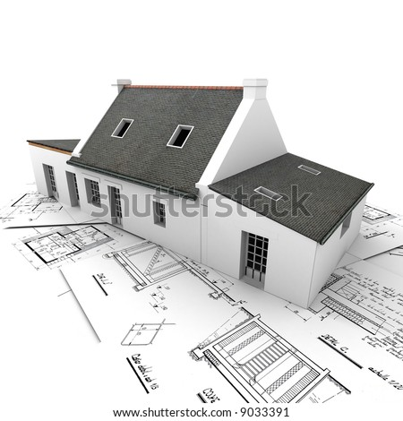 3D rendering of a house on top of architecture blueprints