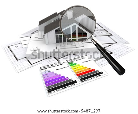 3D rendering of a house, on top of blueprints, with and energy efficiency rating chart and a magnifying glass