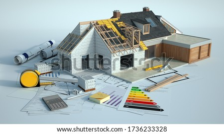 3D rendering of a house undergoing amplifying renovations there is dummy text in the chart and the French words in the plans are room, bathroom, converted attic and terrace Photo stock ©