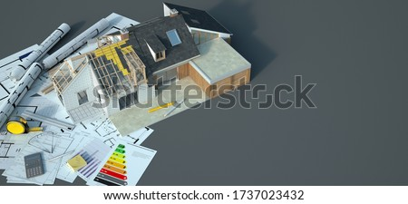 3D rendering of a house undergoing amplifying there is dummy text in the chart and French text in the blueprint: garage, dinning room, laundry room, bathroom, room, kitchen, shower,  Photo stock ©