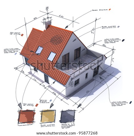 3D rendering of a house with notes, design, and technical specifications