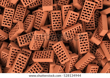 3d rendering of a huge amount of red face bricks lying together in disorder, top view. Building materials. The construction industry. Renovation of premises.