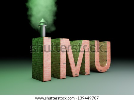 3d rendering of a imu text made of bricks with a smoking chimney(IMU is the new italian tac on properties)