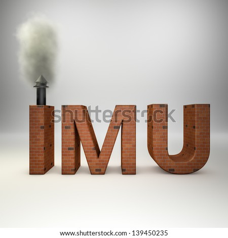 3d rendering of a imu text made of bricks with a smoking chimney(IMU is the new italian tax on properties)