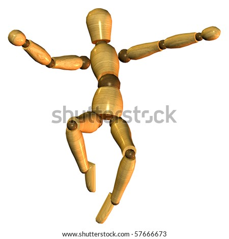 3D rendering of a jumping puppet