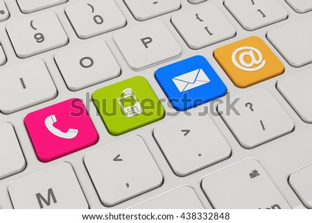 3d rendering of a keyboard with four colorful keys button and contacting symbols - contact us.