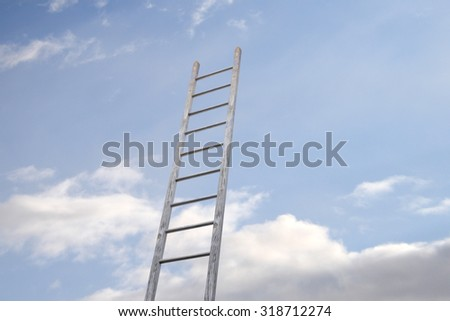 3d rendering of a ladder in a wall, concept of growth and progress