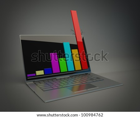 3d rendering of a laptop showing a spreadsheet High resolution.