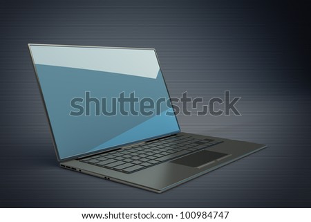 3d rendering of a laptop with blue graphics High resolution.