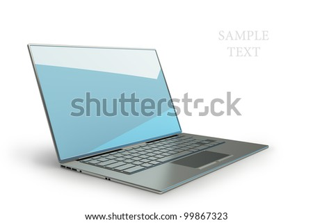 3d rendering of a laptop with blue graphics isolated on white background High resolution.