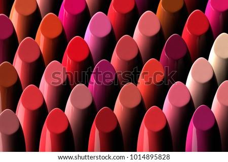 3D rendering of a large assorment of lipsticks
