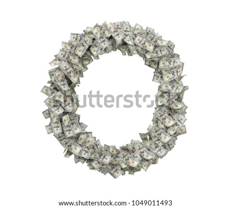 3d rendering of a large isolated letter O made of dollar banknotes on a white background. Money and wealth. Prosperity. Alphabetic sign.