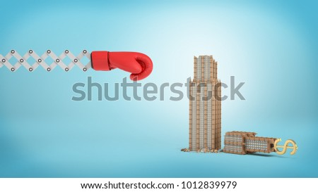 3d rendering of a large red boxing glove on a scissor arm near a small broken business building on a blue background. Business risks. Fall of enterprise. Company gone bust. #1012839979