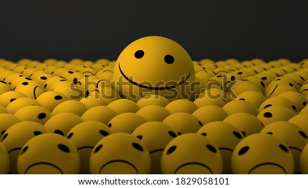 3D rendering of a large smiling ball among a lot of sad, dissatisfied balls. Abstract illustration, the idea of optimists and pessimists. Despondency and joy. Optimism and pessimism. Сток-фото ©