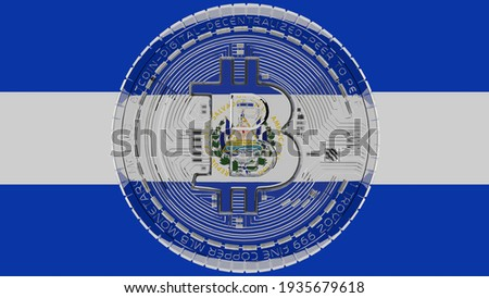 3D rendering of a large transparent Glass Bitcoin in center and on top of the Flag of El Salvador