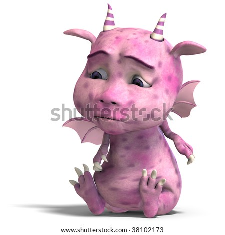 3D rendering of a little pink cute toon dragon devil with clipping path and shadow over white