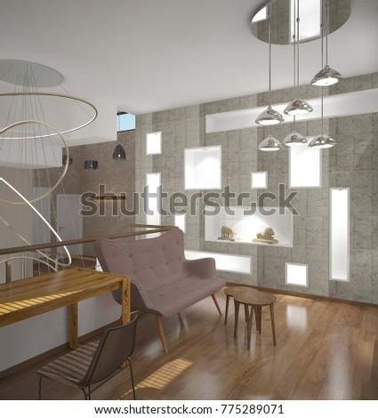 3d rendering of a living room interior design #775289071