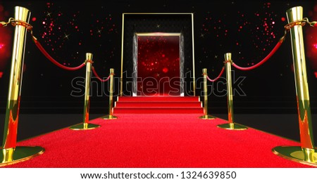 3D rendering of a long red carpet between rope barriers with stair at the end