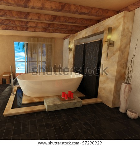 3D Rendering of a luxurious bathroom