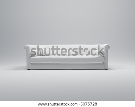 3D rendering of a luxurious comfortable looking white sofa - stock photo