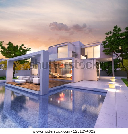 3D rendering of a magnificent modern house with pool #1231294822