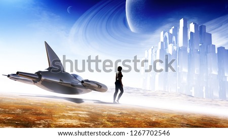 3D rendering of a majestic desert planet environment with a female rider and her speedster to a fortress in deep hazy horizon with celestial elements and moody atmosphere