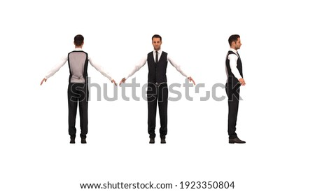 3D rendering of a man dressed chique business like with his arm spread. Foto stock ©