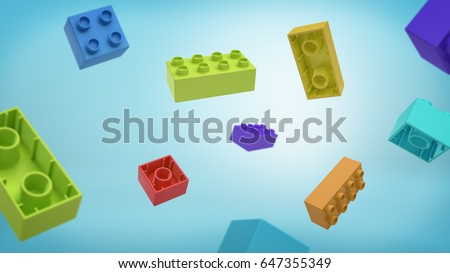 3d rendering of a many multicolored rectangle toy blocks building blocks falling from above on blue background. Building blocks. Toy sets. Originality and nonconformity.