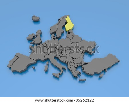 3d rendering of a map of Europe - Finland