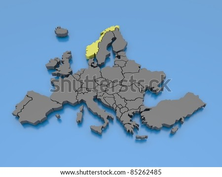 3d rendering of a map of Europe - Norway