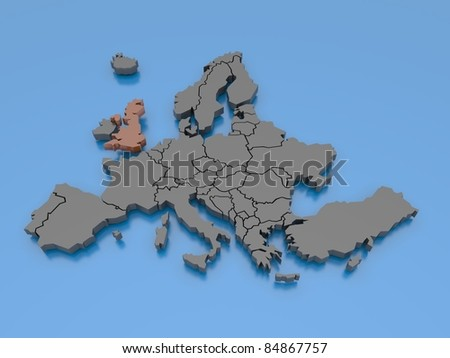 3d rendering of a map of Europe - United Kingdom
