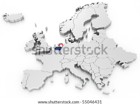 3d rendering of a map of Europe with Holland selected