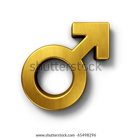 3d rendering of a mars sign in gold on a white isolated background.