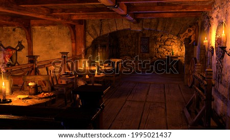 3D rendering of a medieval tavern interior Foto stock ©