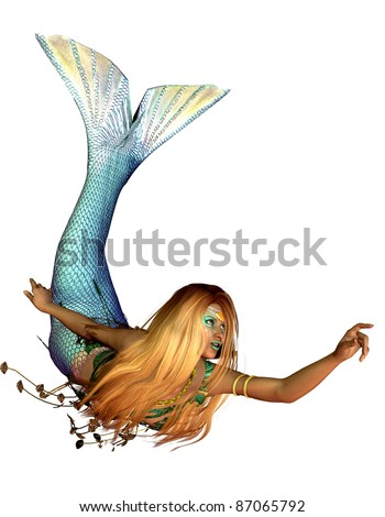 3d rendering of a mermaid in a swimming pose illustration