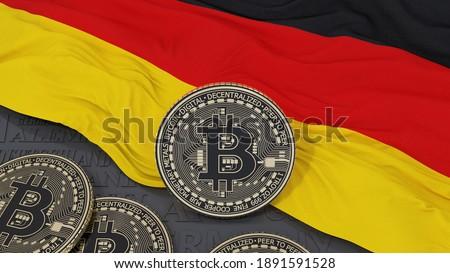 3d rendering of a metallic Bitcoin over German flag Foto d'archivio ©