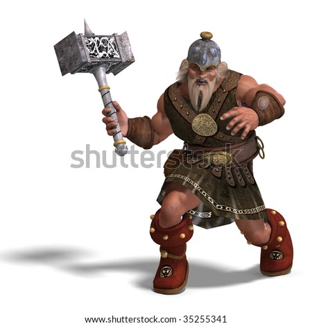 3D rendering of a mighty fantasy dwarf with a hammer with clipping path and shadow over white