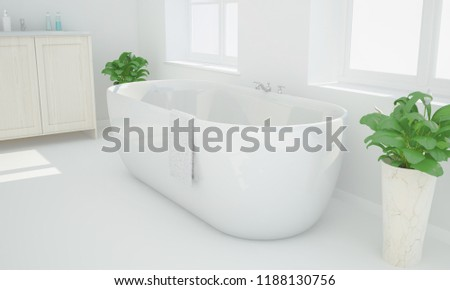 3d rendering of a minimal white bathroom