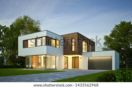 3d rendering of a modern cubic villa in the evening