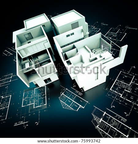 3D rendering of a modern design building on top of blueprints in white and black