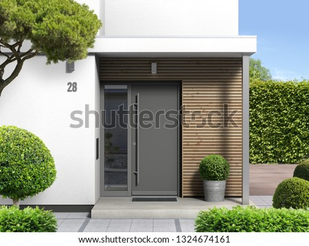 3d rendering of a modern home entrance with front door