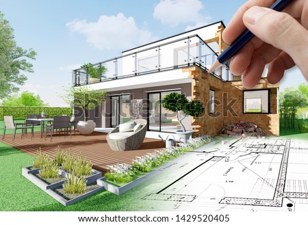 3D rendering of a modern house under construction