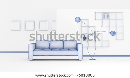 3d rendering of a modern interior composition. Isolated on white background - stock photo