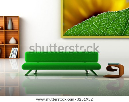 3D rendering of a modern interior. Picture on the wall is my own photograph.