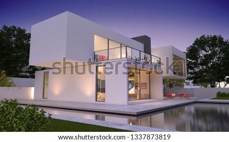 3D rendering of a modern luxurious house with pool #1337873819