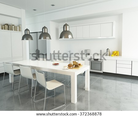 3D rendering of a modern spacious white kitchen #372368878