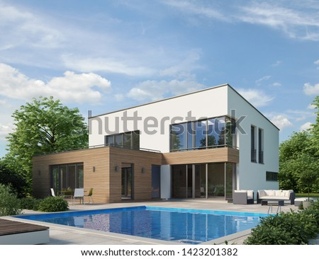 3D rendering of a modern villa with pool