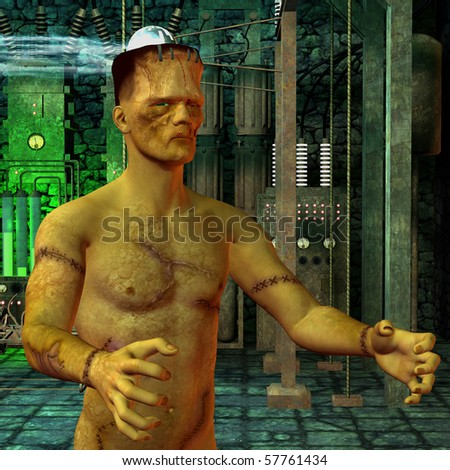 3D rendering of a monster in the laboratory