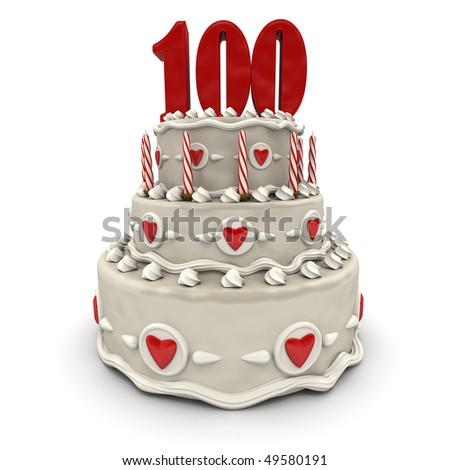 3D rendering of a multi-tiered cake with a number hundred on top