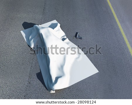 3d rendering of a murder scene with a dead body under a homicide cloth with a gun beside it.